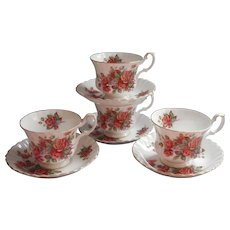 Royal Albert Centennial Rose 4 Cups Saucers Cup Saucer Vintage English Bone China - Red Tag Sale Item