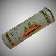 Vintage Tums Pocket Tin Midcentury Aqua Transportation Theme