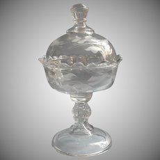 Antique Jelly Compote With Lid EAPG Pressed Glass