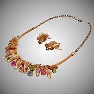 Vintage 1950s Pastel Rainbow Rhinestones Necklace Earrings Mesh Chain