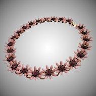 Vintage Necklace Pink Plastic Purple Rhinestones Flowers