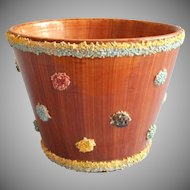 1950s Italian Flower Pot Planter Vintage Moss or Spaghetti Trim Dots Pottery