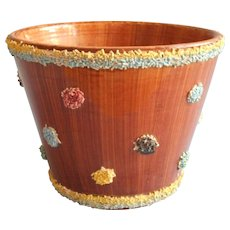 1950s Italian Flower Pot Planter Vintage Moss or Spaghetti Trim Dots Pottery