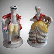 Tiny 1930s Pair Figurines Japan Hand Painted China Colonial Couple In Chairs