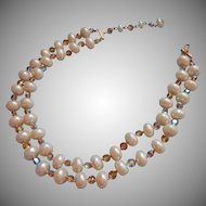 Vintage Necklace Flattened Fat Pearlized Glass Beads Flat AB Crsytal Beads