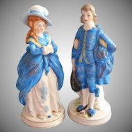 Vintage Japan Hand Painted Figurines 18th Century Dress Man Woman Bright Blue