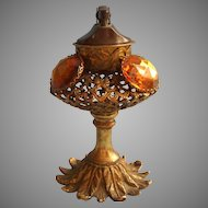 Vanity Lighter Stylebuilt Matson Ornate Filigree Amber Glass Jeweled Vintage