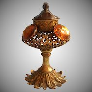 Vanity Lighter Stylebuilt Matson Ornate Filigree Amber Glass Jeweled Vintage