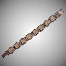 Vintage Chinese Export Silver Filigree Bracelet Carved Bone Plaques
