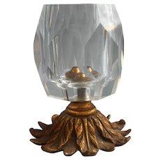Vintage Cut Glass Crystal Brass Ormolu Lighter Base