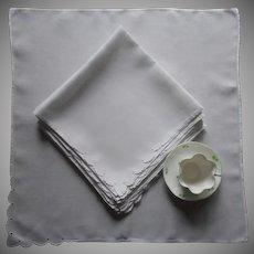 Large 1950s Napkins Madeira Fine Linen Scalloped Cutwork Corner Set 10