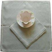 Vintage Green Linen Napkins Set 4 Unused Hemsticthed Borders
