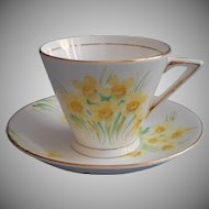 1920s to 30s English Bone China Cup Saucer Hand Painted Daffodils Narcissus Phoenix