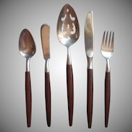 American Tempo Vintage Midcentury Stainless Faux Wood Serving Spoon Butter Knife Salad Fork Teaspoon