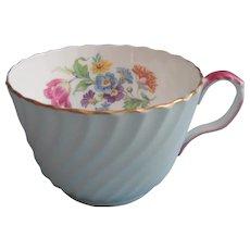 Aynsley English Bone China Cup Blue Swirl Pink Handle Vintage Floral