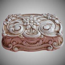 Vintage Syroco Wood Product Composition Box Vanity Trinket Vintage Whitewashed Finish