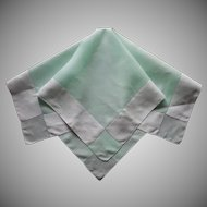 1920s Tea Tablecloth Vintage Green White Linen Embroidered Dots TLC