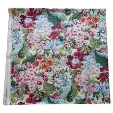 Waverly Fabric Yardage Vintage Bermudaful Cotton Chintz 3 Yards Unused