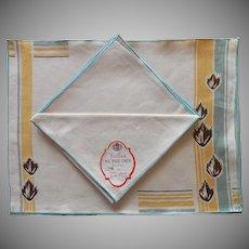 Vintage Linen Placemats Napkins Set Art Deco Motifs Leaves Unused Label