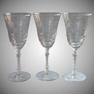 Normandy Vintage 3 Water Wine Goblets Glasses Libbey Rock Sharpe