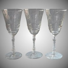 Normandy Vintage 3 Water Wine Goblets Glasses Libbey Rock Sharpe
