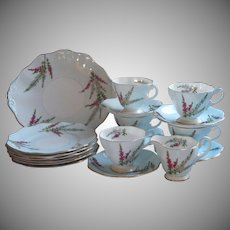 Dessert Service Foley Highland Heather Bone China Vintage Cups Saucers Tea Plates