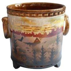 Czech Erphila Pottery Vintage 1920s to 1930s Condensed Milk Jar Pot Cabin In Woods