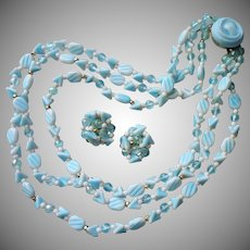 Vintage 1950s Glass Beads Necklace Earrings Srt Western Germany Baby Blue