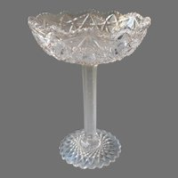 Antique Pressed Glass EAPG Tazza Style High Compote Relish Candy