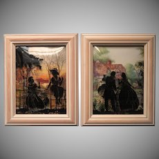 Vintage Silhouette Pair Framed Reverse Painted Convex Glass