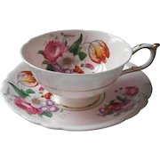 Paragon Pink Posies Cup Saucer Vintage Platinum Trim Saucer Gold Trim Cup English Bone China