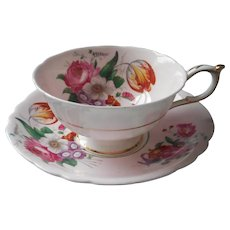 Paragon Pink Posies Cup Saucer Vintage Platinum Trim Saucer Gold Trim Cup English Bone China