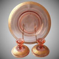 Console Set Pink Glass Gold Encrusted Rims Vintage Candlesticks Bowl Elegant Era