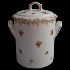 Antique Jar Pink Roses China Condensed Milk Austria 1910s