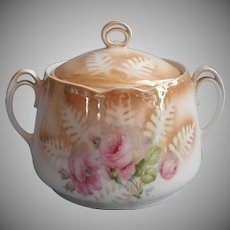Antique Cracker Jar China Luster Glaze Pink Roses Cookies German 1900s to 1920s
