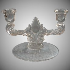 Etched Glass Candleholder Meadow Wreath New Martinsville Vintage 2 Light Candlestick