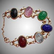 Vintage Scarab Bracelet 1960s Glass Stones