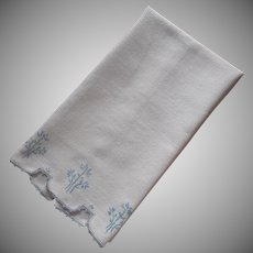 Antique Towel 1910s Blue Hand Embroidery Thick Soft White