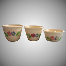 Vintage Oven Serve Custard Cups Baking Ramekins Hand Painted Flowers