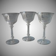 Heisey Orchid Elegant Etched Liquor Cocktail Glasses