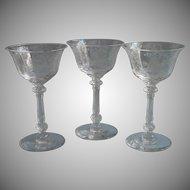 Heisey Orchid Elegant Etched Liquor Cocktail Glasses