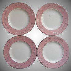 1950s Pink Melody Homer Laughlin China Cavalier Bread Plates Vintage