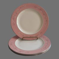 1950s Pink Melody Homer Laughlin China Cavalier Dinner Plates Vintage