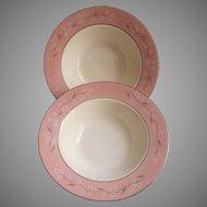 1950s Pink Melody Homer Laughlin China Cavalier Fruit Bowls Vintage