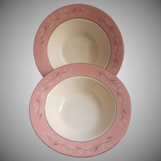 1950s Pink Melody Homer Laughlin China Cavalier Fruit Bowls Vintage