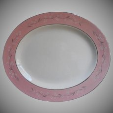 1950s Pink Melody Homer Laughlin China Cavalier Platter Vintage