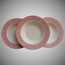 1950s Pink Melody Homer Laughlin China Cavalier Soup Plates Bowls Vintage