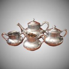 Victorian Tea Set Tufts Antique Silver Plated Teapot Sugar Creamer Waste Bowl