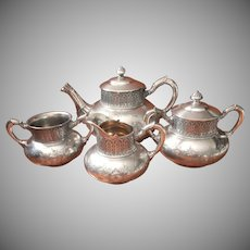 Victorian Tea Set Tufts Antique Silver Plated Teapot Sugar Creamer Waste Bowl