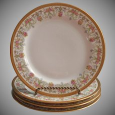 Limoges Plates Jean Pouyat For Wanamaker Antique 4 Roses Gold China French